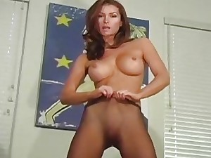 Nymphomaniac exposes unshaved muff in transparent tights