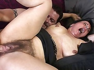 Mature Gal Enjoys Getting Her Unshaved Cunt Pulverized