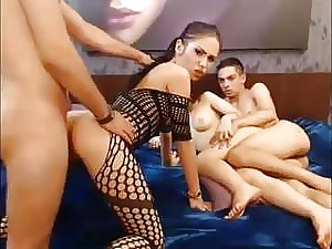 Romanian brunette in fishnet and her naked friend get dicked