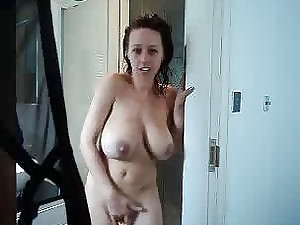 Teen with big natural boobies jacks after taking a shower