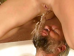 Pretty girl and gross guy pissing and fucking