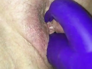 Milf climaxes when I play with her cunt milf rabbit vibe