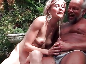 Old duo pissing and fucking outdoor
