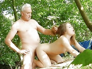 Oldman disciplines young woman with his old dick