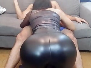 Skintight leatherette outfit
