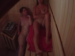 Girls Flirting on touching Sauna